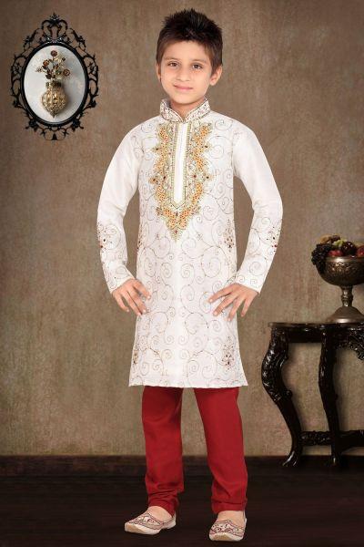 Off White Art Dupion Kurta Pajama for Boys (NKK-472)
