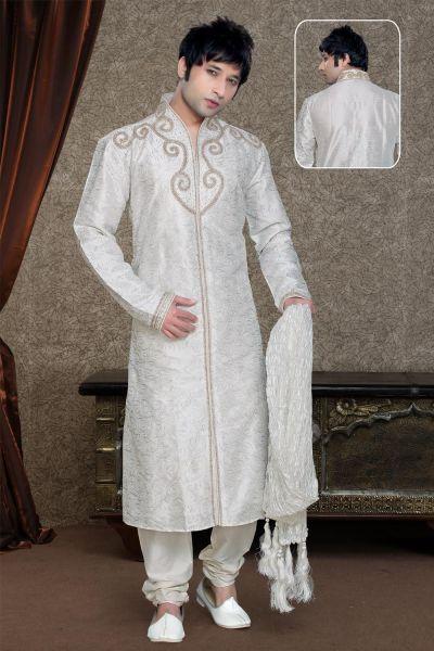 Off White Art Dupion Kurta Pajama (NMK-1119)