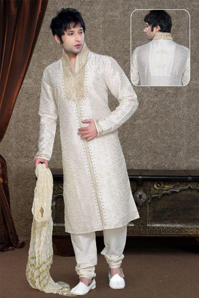 Off White Art Dupion Kurta Pajama (NMK-1120)