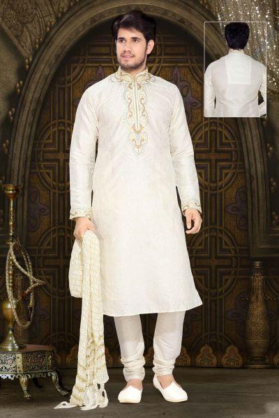 Off White Art Silk Designer Kurta Pajama (NMK-2321)