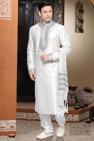 Off White Art Silk Kurta Pajama (NMK-2792)