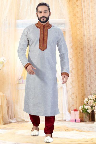 Off White Art Silk Kurta Pajama (NMK-4251)