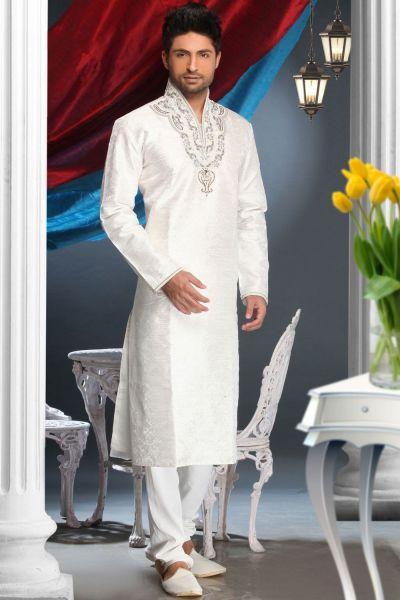 Off White Bhagalpuri Jacquard Designer Kurta Pajama (NMK-1600)