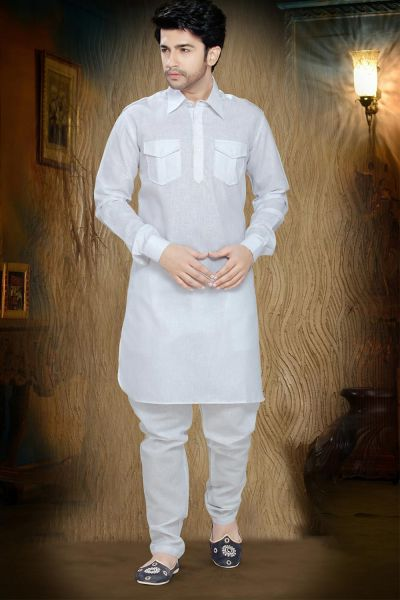 Off White Cotton Pathani Suit (NMK-2277)