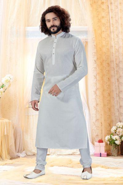 Off White Cotton Silk Kurta Pajama (NMK-4257)