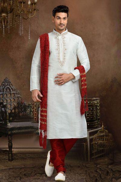 Off White Dupion Art Silk Casual Kurta Pajama (NMK-3075)