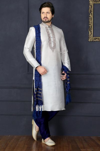 Off White Dupion Art Silk Casual Kurta Pajama (NMK-3738)