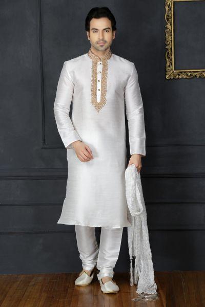 Off White Dupion Art Silk Casual Mens Kurta (NMK-3741)