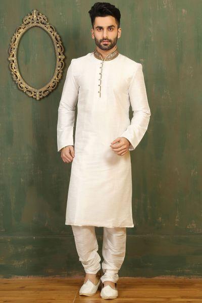 Off White Dupion Art Silk Kurta Pajama for Men (NMK-3291)