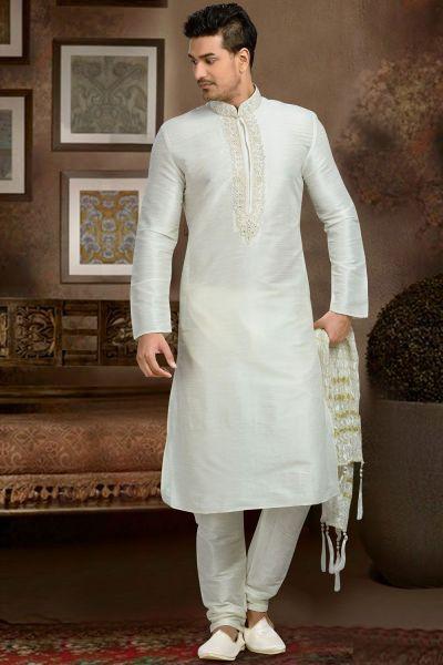 Off White Dupion Art Silk Kurta Pajama (NMK-3071)