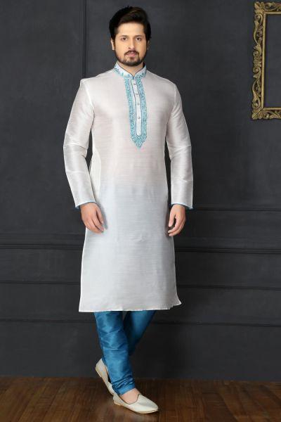 Off White Dupion Art Silk Kurta Pajama (NMK-3740)