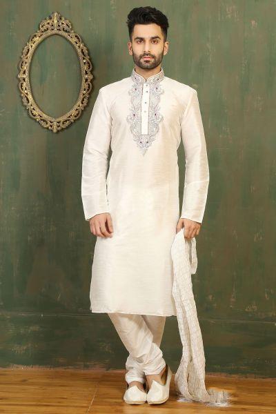 Off White Dupion Art Silk Kurtas for Men (NMK-3317)