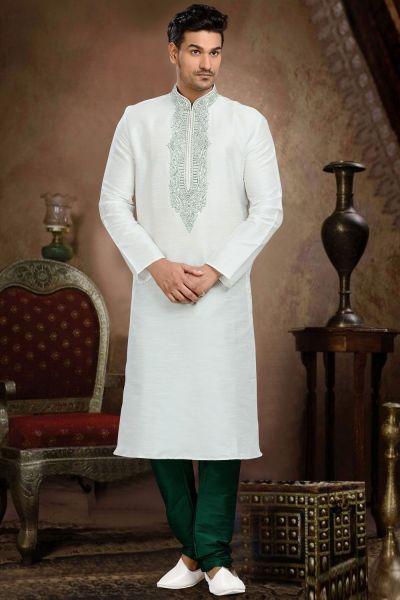 Off White Dupion Art Silk Men's Kurta Pajama (NMK-3086)