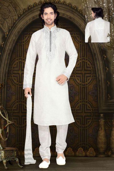 Off White Dupion Silk Designer Kurta Pajama (NMK-2309)