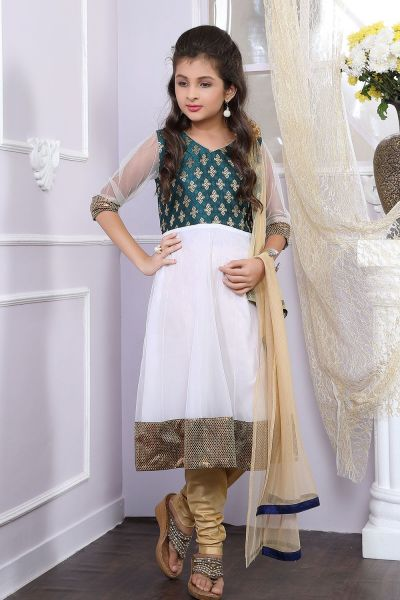Off White, Green Net, Brocade Girls Anarkali Dress (NFG-178)
