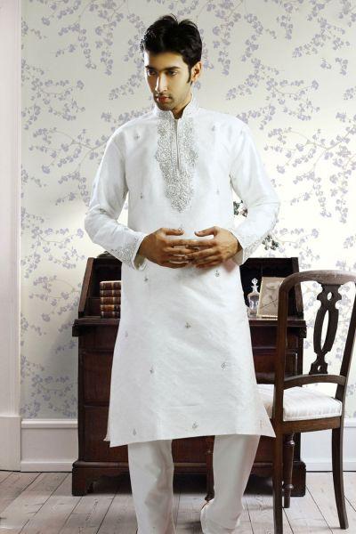 Off White Jacquard Designer Kurta Pajama (NMK-1032)