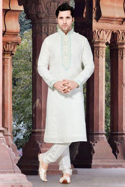 Off White Linen Men's Kurta Pajama (NMK-2917)