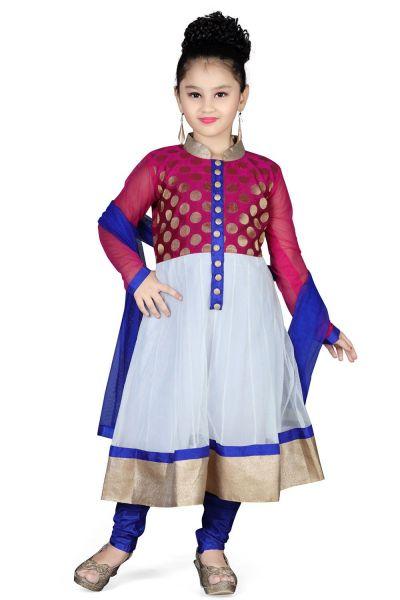 Off White Net Girls Salwar Kameez (NFG-104)