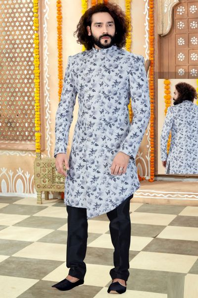 Off White With Grey Printed Silk Indo Western (NMK-4321)