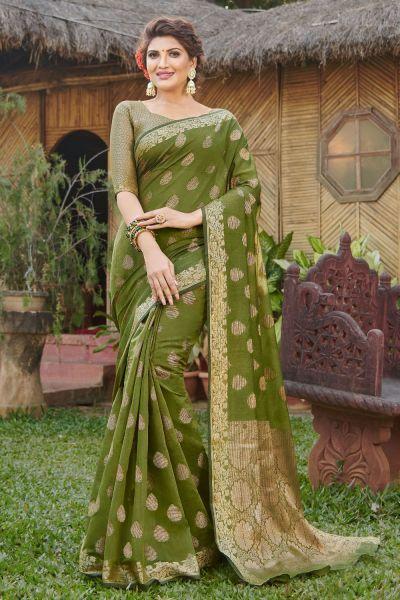 Olive Green Handloom Silk Saree (NWSA-4980)