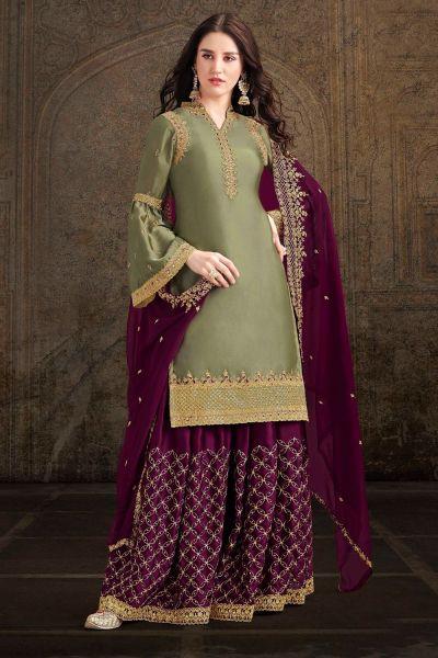 Olive Green Soft Satin Salwar Kameez (NWS-4894)