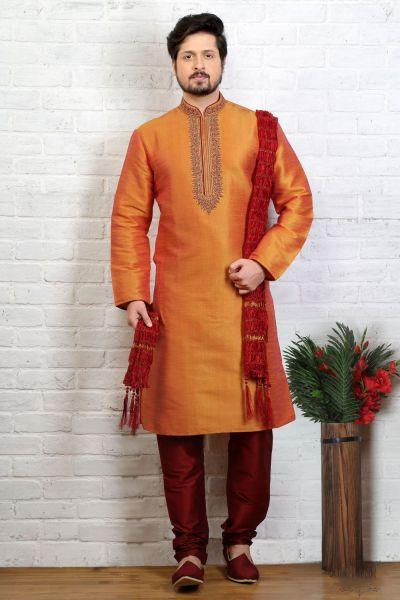 Orange Art Banarasi Silk Casual Kurta Pajama (NMK-3719)
