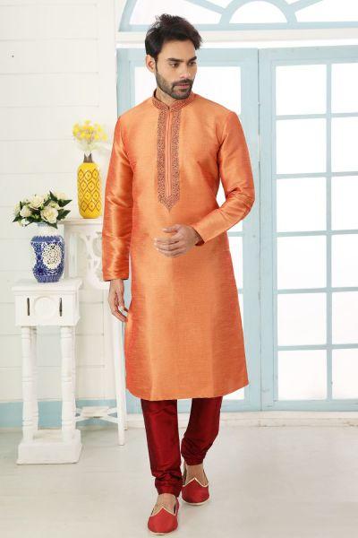 Orange Art Banarasi Silk Kurta Pajama (NMK-5067)