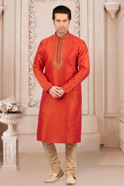 Orange Art Banarasi Silk Regular Kurta Pajama (NMK-4023)