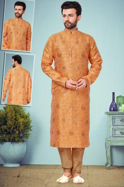 Orange Banarasi Jaquard Kurta Pajama (NMK-4827)