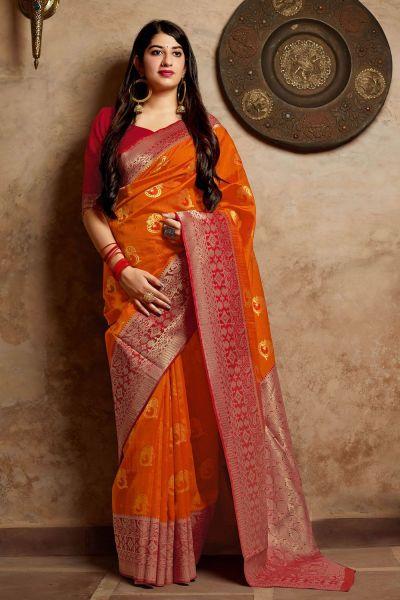 Orange Banarasi Silk Festive Saree (NWSA-4378)