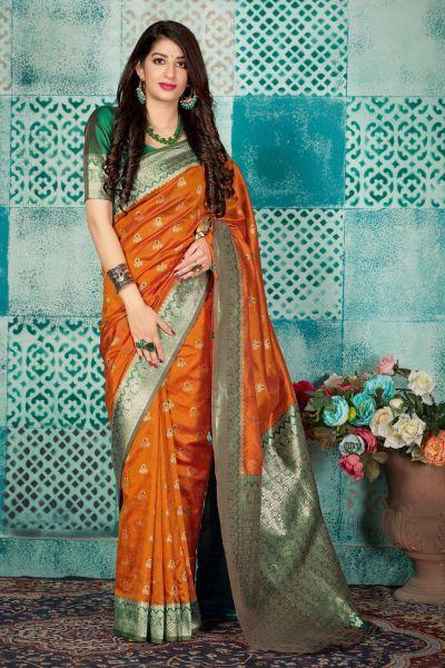 Orange Banarasi Silk Saree (NWSA-4605)