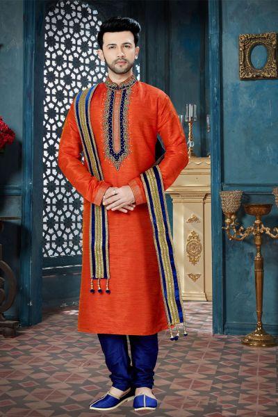 Orange Banglori Silk Regular Kurta Pajama (NMK-3814)