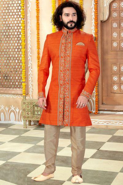 Orange Banglori Silk Sherwani (NMK-4301)