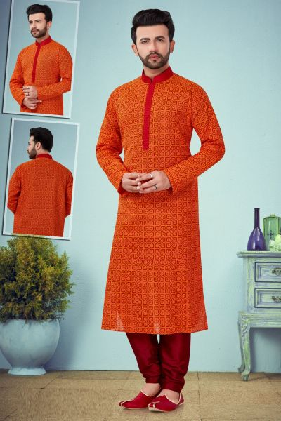 Orange Cotton Casual Kurta for Men (NMK-4822)