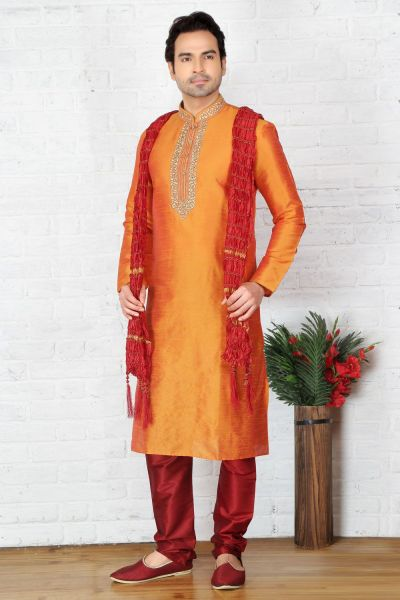 Orange Dupion Art Silk Casual Kurta Pajama (NMK-3713)