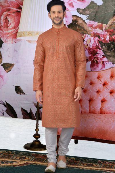 Orange Fancy Cotton Kurta Pajama(NMK-4609)