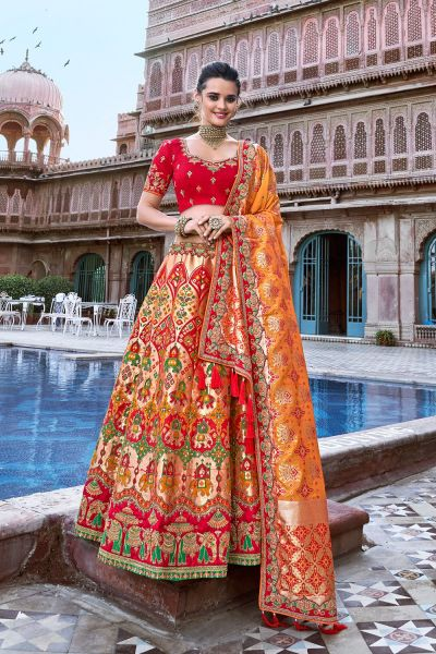Orange Jaquard Silk Wedding Lehenga Choli (NWG-693)
