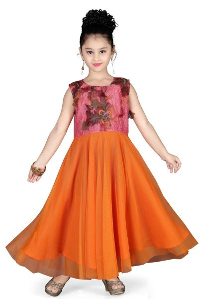 Orange Net Girls Gown (NFG-117)