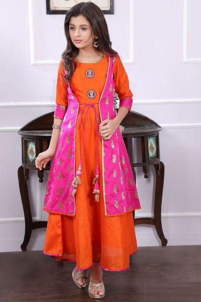 Orange, Pink Art Silk, Brocade Girls Gown (NFG-191)