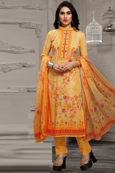 Orange Pure Lawn Cotton Salwar Kameez (NWS-4871)