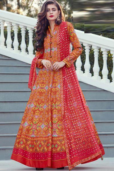 Orange Silk Salwar Kameez (NWS-4826)