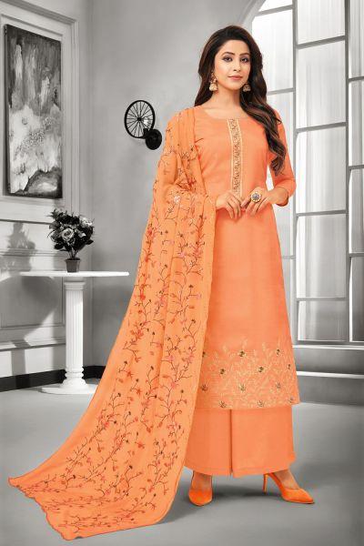 Orange Silk Salwar Kameez (NWS-5052)