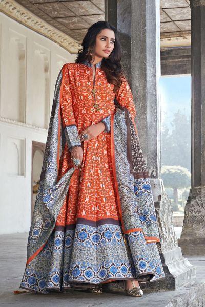 Orange Silk Salwar Kameez (NWS-6022)