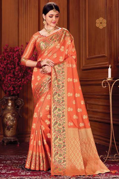 Orange Silk Sari (NWSA-5116)