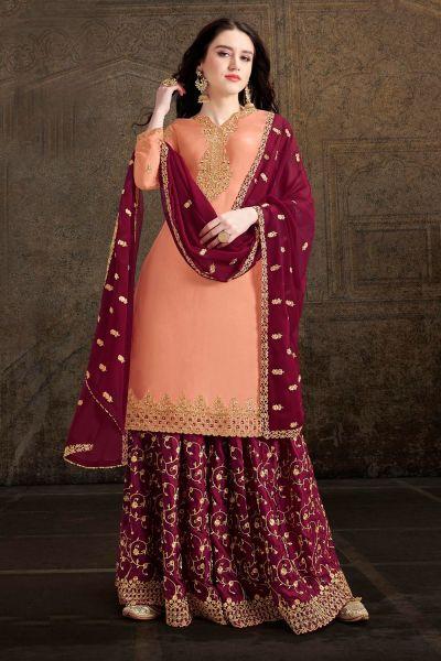Orange Soft Satin Salwar Kameez (NWS-4889)