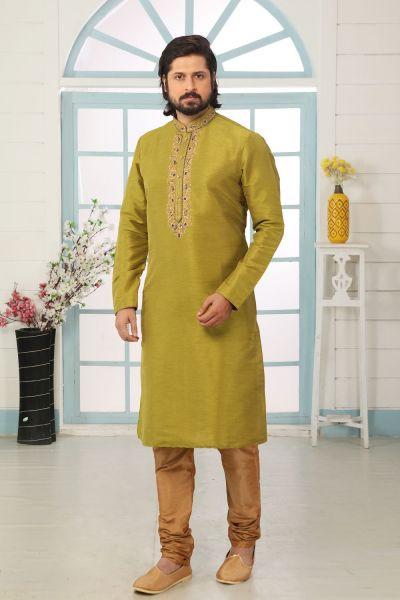 Parrot Green Art Banarasi Silk Kurta Pajama (NMK-5068)