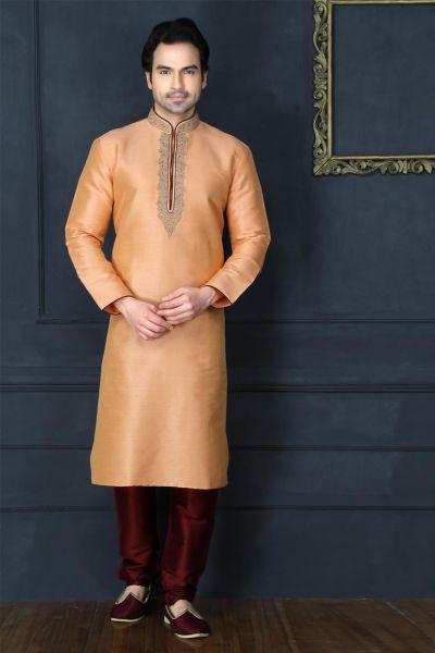 Peach Art Banarasi Silk Casual Kurta Pajama (NMK-3739)