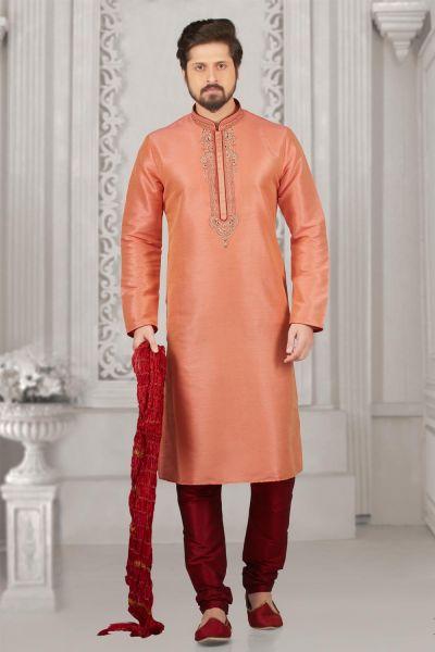 Peach Art Banarasi Silk Casual Kurta Pajama (NMK-3989)