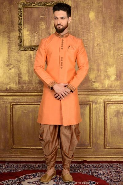 Peach Art Banarasi Silk Indo western (NMK-3598)