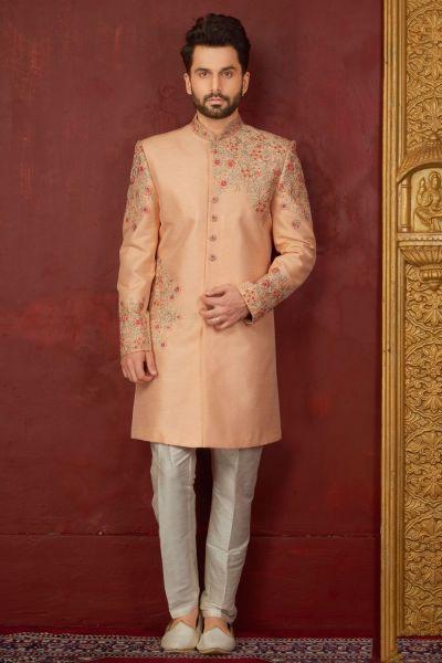 Peach Art Banarasi Silk Indo western (NMK-3845)